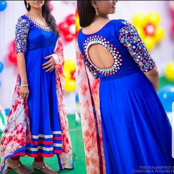 Enchanting Stitched Royal Blue Pure silk mirror work churidar/anarkali set with contrast colored tie and dye dupatta #afflink #chudidhar #anarkali #fashion #ethnicwear #indianwedding