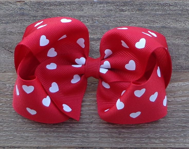 Valentine Hair Bow~Boutique Hair Bow~Valentine's Day Hair Bow~Red Heart Hair Bow~Large Hair Bow~Boutique Bow~Hairbow~Valentine Bow~Hair Bows by LizzyBugsBowtique on Etsy