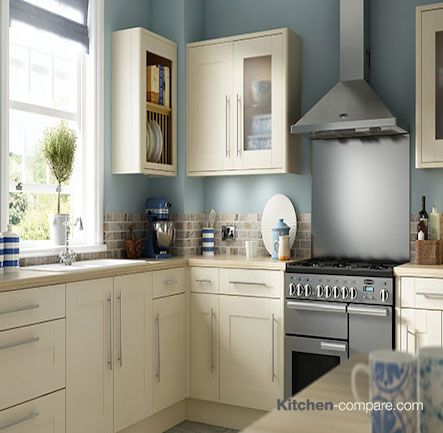 Wickes - Milton Bone. The beautiful painted timber effect and delicate colouring of Milton Bone will bring light and space into even the darkest and smallest of kitchens. More information is available on our website - http://bit.ly/1KEPecO