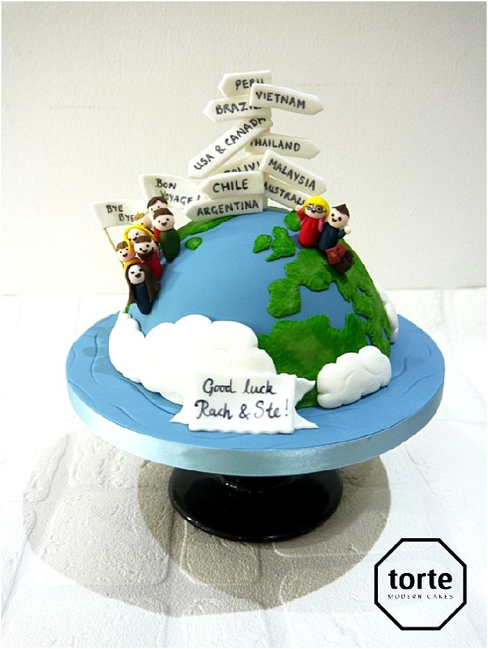 Around the world travel leaving gift cake #farewell #cake #leavinggift #aroundtheworld #globe #travel #destinations #backpacking