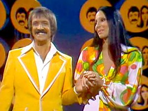 Sonny and Cher - we used dish towels wrapped around our heads to represent her hair