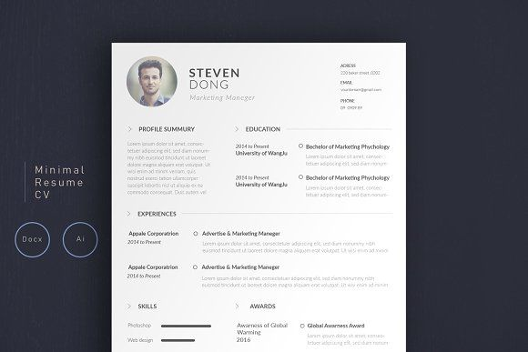 Minimal Resume CV | Simple Edition by Ronbuz on @creativemarket