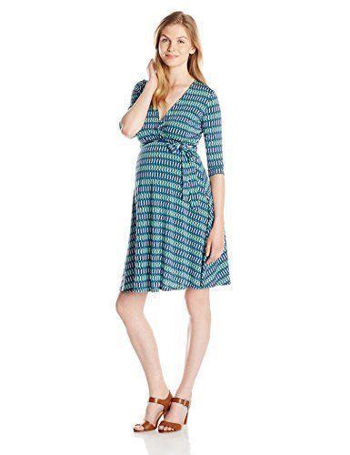 Leota Birds And The Bees Green Blue White Maternity Faux Wrap Dress Medium #Leota #FauxWrapCrissCross