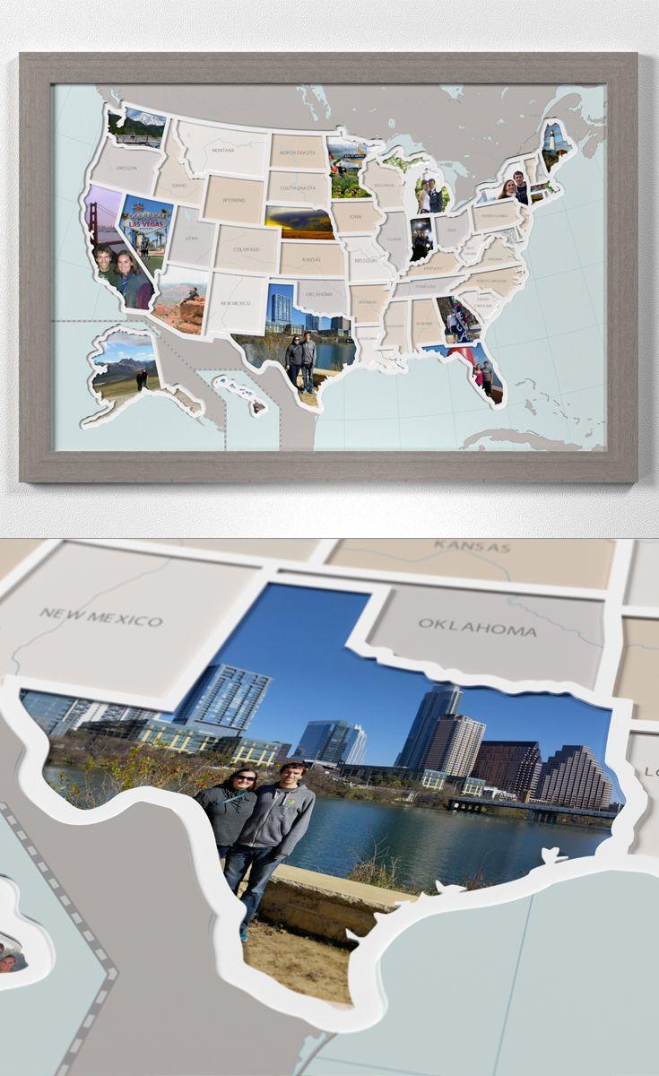 Personalized 50 States Photo Map – A Unique USA Travel Collage