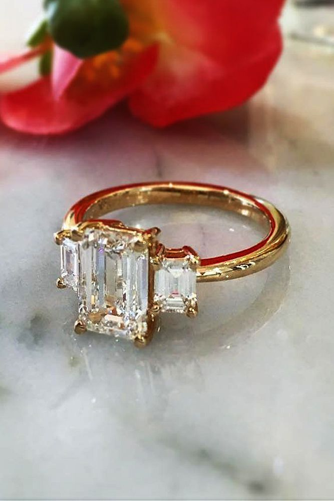 30 Eye-Catching Emerald Cut Engagement Rings ❤️ emerald cut engagement rings yellow gold three stones diamond ❤️ See more: http://www.weddingforward.com/emerald-cut-engagement-rings/ #weddingforward #wedding #bride #engagementrings
