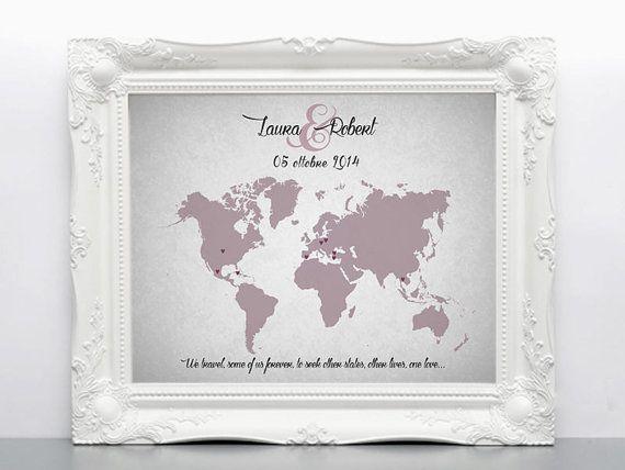 Wedding Guest Book Map  Custom Map  Custom Map Gift  by luzdesign
