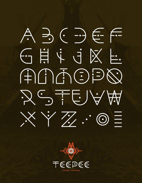 Alphabet rappelant des signes ethniques. / By Jorge Letona.