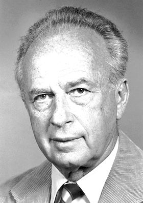 """Yitzhak Rabin, The Nobel Peace Prize 1994: """"for their efforts to create peace in the Middle East"""", Prime Minister of Israel"""
