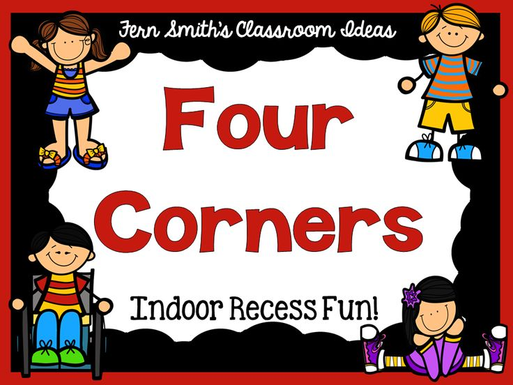 Fern Smith's FREE Four Corners Game Direction Printable   Four Corners Game  Have you had a chance to play this great indoor recess game? I have a printable direction sheet on my blog feel free to visit and come download it.  Click here to see all my FREE Indoor Recess printables.  Click here to download it at my blog!  Your students will love it!  3-5 Fern Smith's Classroom Ideas games Indoor Recess PK-2 recess
