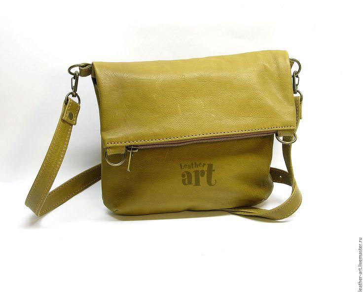 Купить Сумка кожаная женская Горчичка - сумка-планшетка, женская сумка, кожа натуральная