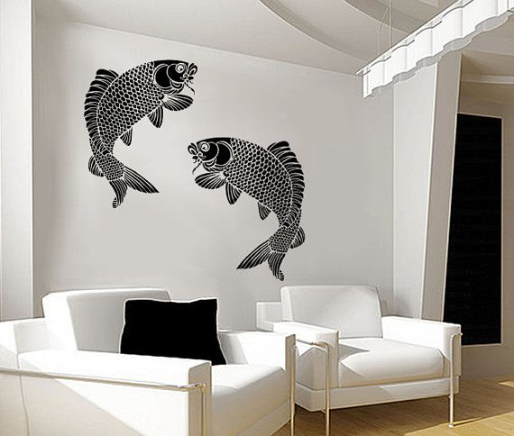 Koi fish wall stencil giant fish large reusable for Koi fish wall decor