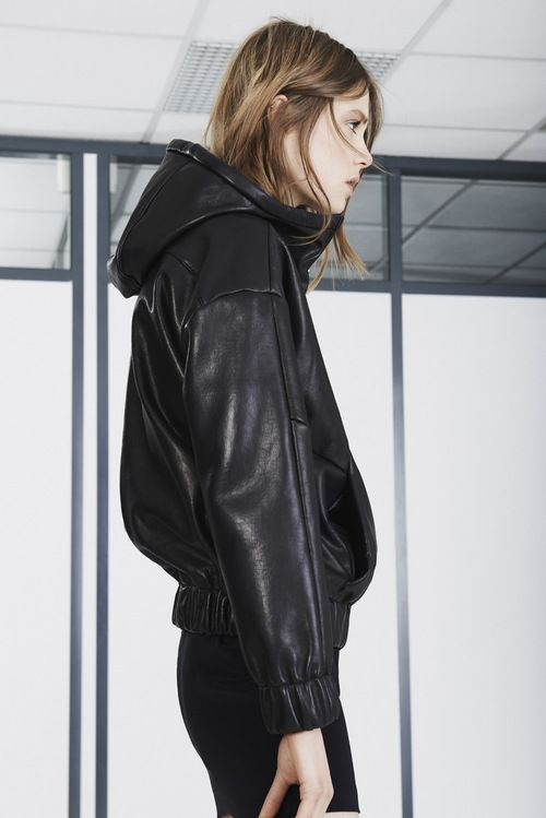 black leather bomber // sports luxe