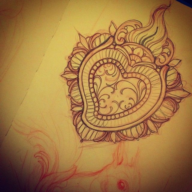 Sketching a #sacredheart for tomorrow at @southinktattooshop @southinktattooshop @southinktattooshop #exvoto #heart #tattoo #missjuliet #southinktattooshop