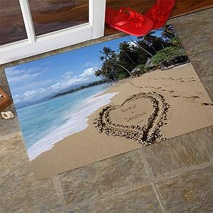 Personalized Door Mats - Sandy Beach Tropical Island Doormat.