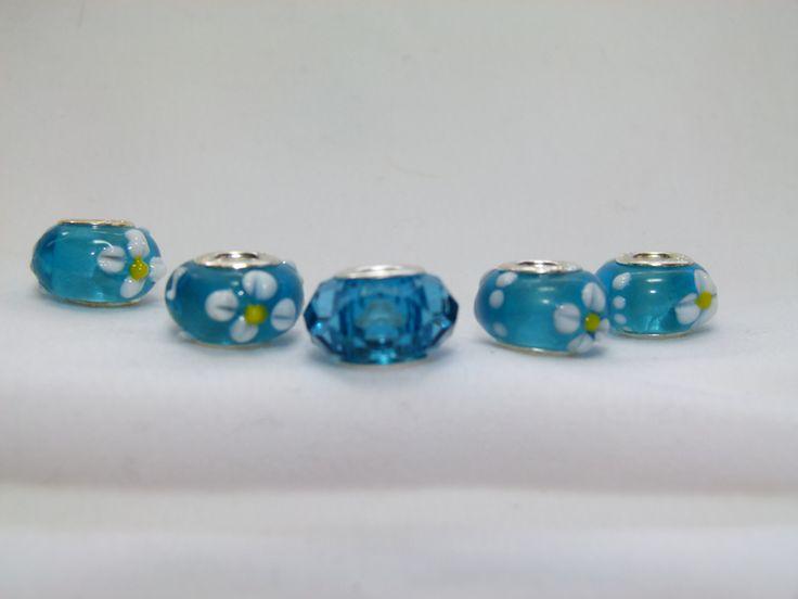 Pandora style beads 5 blue topaz color
