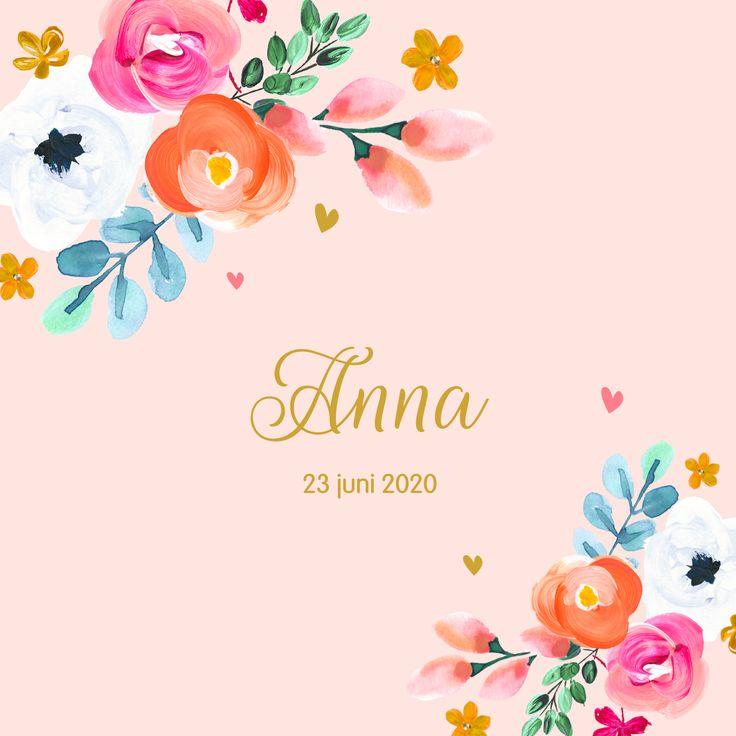 Roze, bloemen, mooie kleuren en gouden letters! Prachtig kaartje om de geboorte van jullie meisje aan te kondigen.