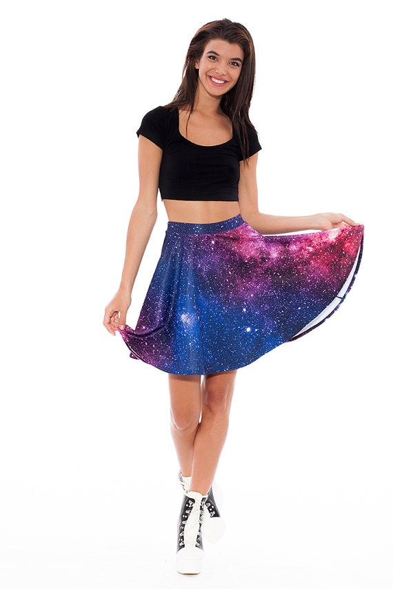 Galaxy Printed Skater Skirt / High Waisted Skater Skirt with Very Vibrant Colours / Mid Length / Galaxy Clothing / XS,S,M,L / Quality Fabric