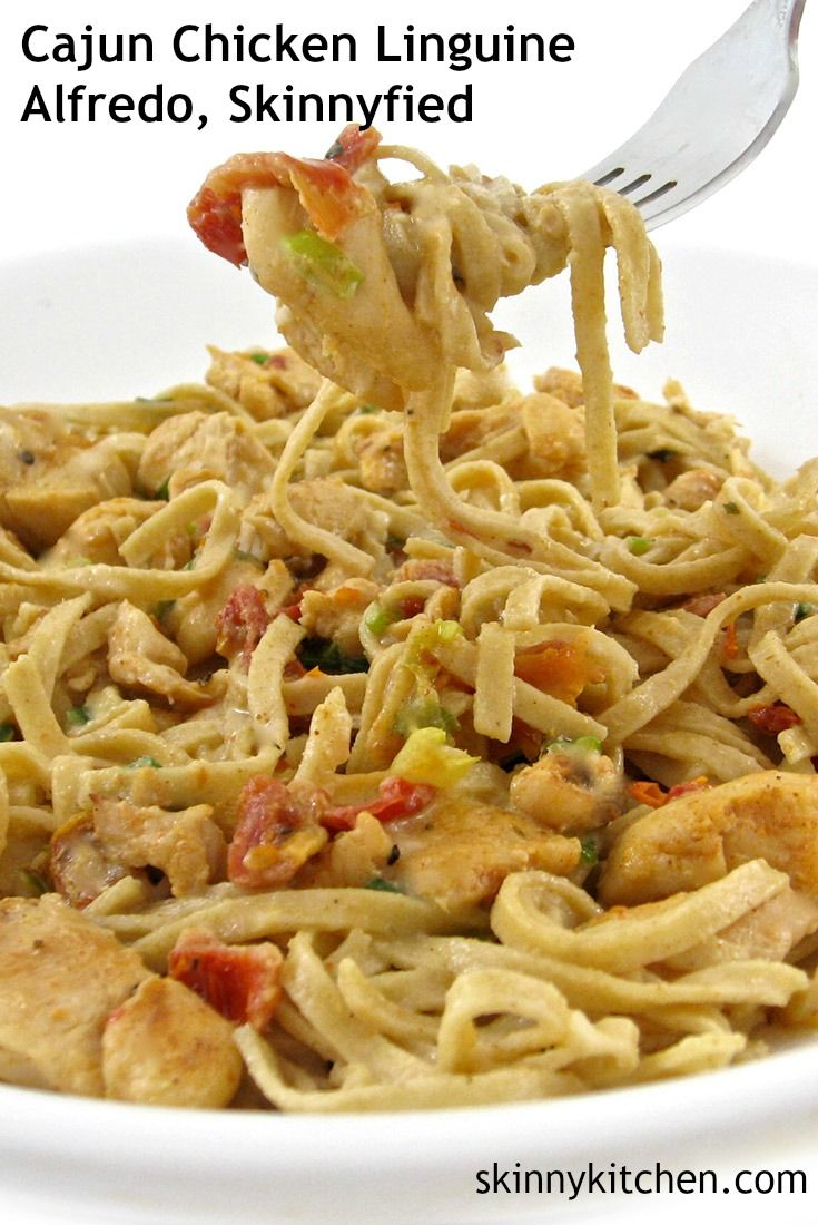 Cajun Chicken Linguine Alfredo, Skinnyfied! Decadent and bursting with flavor. Each serving has 391 calories, 9g fat and 10 Weight Watchers POINTS PLUS. http://www.skinnykitchen.com/recipes/cajun-chicken-linguine-alfredo/
