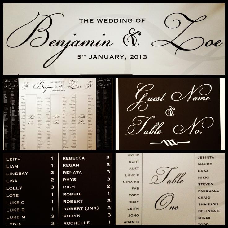 Mr & Mrs Benji Marshall Wedding Stationary I designed - Seating Chart
