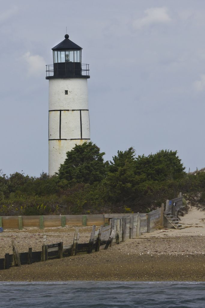 A closer view of Sandy Neck Lighthouse as we passed it in the whale-watching boat sailing out of Barnstable.