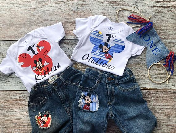 Mickey Mouse first birthday outfit baby boys first Mickey outfit Mickey Mouse Mickey Mouse onesie Mickey Mouse distressed blue jeans