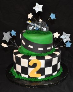 This was for a 2 year old that loves racing motorbikes. Fun cake to do.