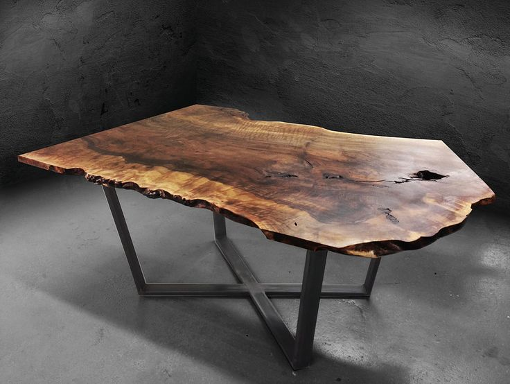 Dining table furniture made from reclaimed wood, fallen trees, salvage art, recycled furniture, green, live edge, natural