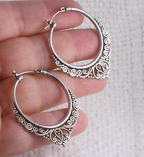 Vintage Sterling Silver Bali Suarti Big Hoop Earrings with Drop Scrolled Design…