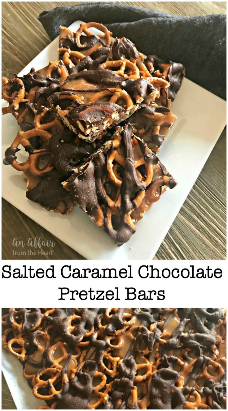 Salted Caramel Chocolate Pretzel Bars -- An Affair from the Heart --Salty pretzels, creamy caramel, semi sweet chocolate and a sprinkling of sea salt, that's right, only four ingredients and these sweet and salty treats can be yours to enjoy! #Chocotoberfest