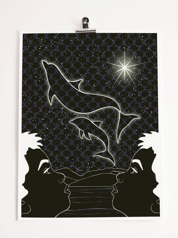 Title: Kaitiaki (guardian). This artwork was inspired by an old Maori story told by Nahu Haeata Jnr.  The background is a tukutuku panel. The name of this pattern is called Mangaroa - The Milky Way. Every star is Tipuna. Here is the link to the story if anyone is interested in reading : http://www.rangitane.iwi.nz/education/index.php/k/kaitiaki