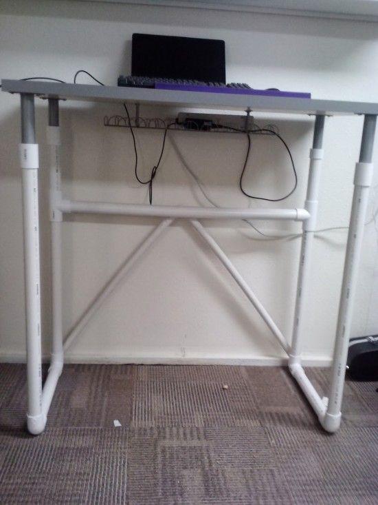 LINNMON treadmill desk with PVC pipe legs - IKEA Hackers