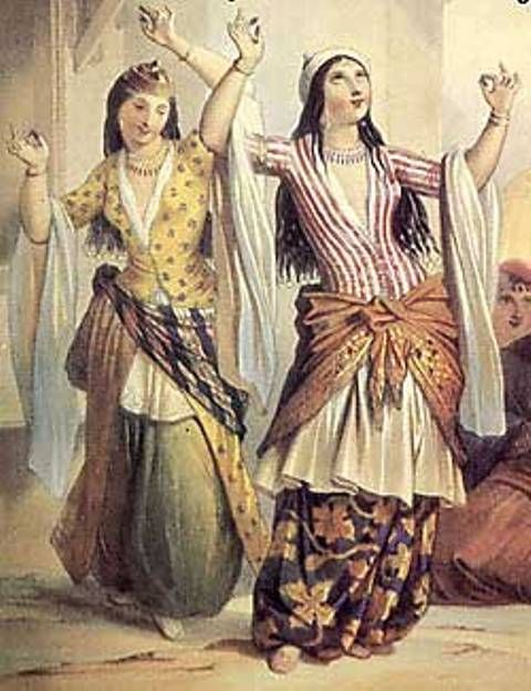 """#ghawazee #gipsy #bellydance 1848, Ghawazee dancers by Emile Prisse d'Avennes. Another 19th c. picture misunderstood into the """"ghawazee"""" coat in the 1970s. Again, the entari sleeves do not have tippets, but are unbuttoned, hanging open behind the white gömlek sleeves."""