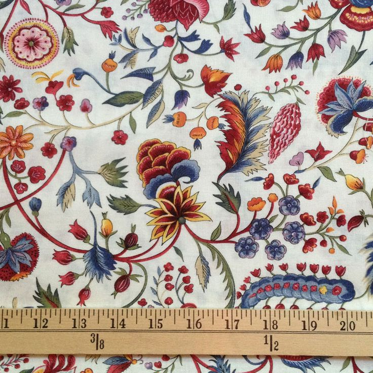 We are VERY excited to carry this original Colonial Williamsburg cotton print! It is a floral design in shades of blue, green, lavender, red and gold on a light cream background. Reproduction 18th- century fabric from the Colonial Williamsburg collections. The 100% cotton is fine and smooth with an 12″ pattern repeat. It is perfect …