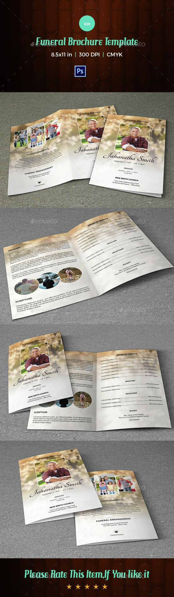 Funeral Program Template-V01 #funeral #template #obituary