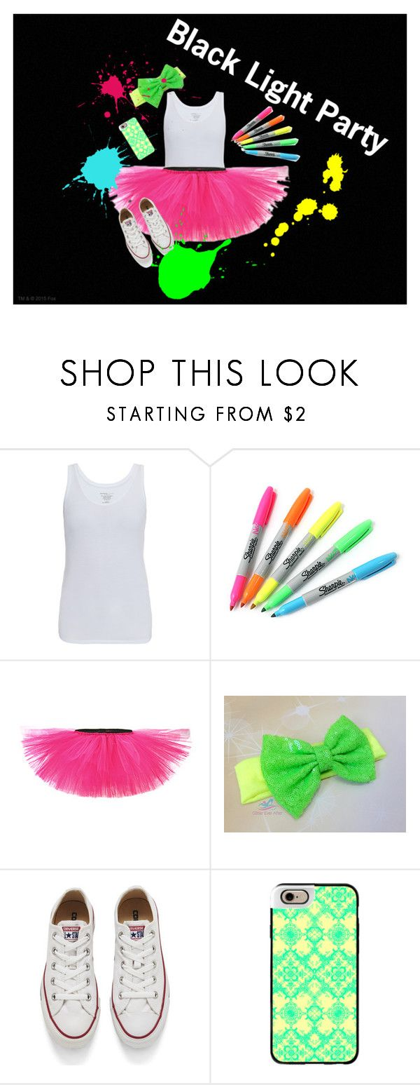 """""""Black Light Party"""" by miranda-skye25 on Polyvore featuring Majestic, Sharpie, Converse, Casetify, neon, party, converse, whiteshirt and sharpies"""