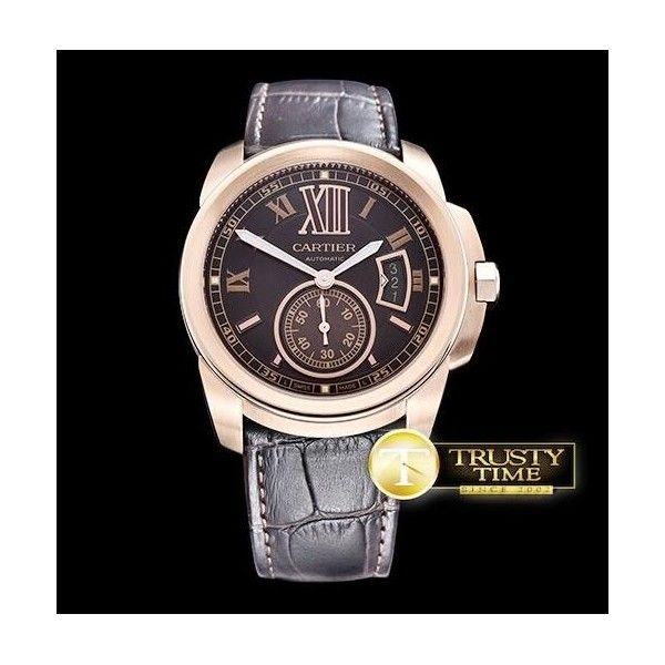 Replica Cartier Calibre de Cartier Brown Dial Gold  Watch W7100007