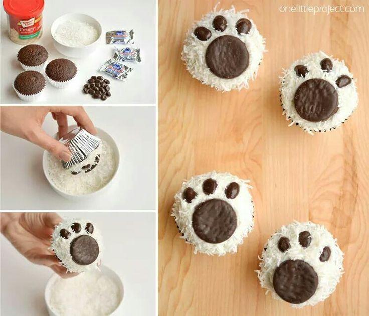 Cute polar bear paw cupcakes