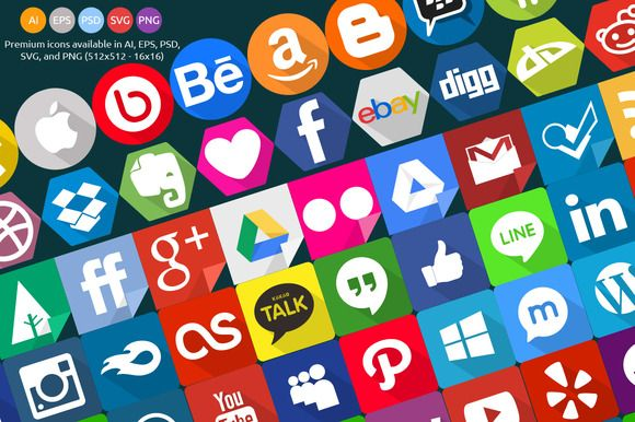 Check out 240 Social Icons Set by Graphiqa on Creative Market