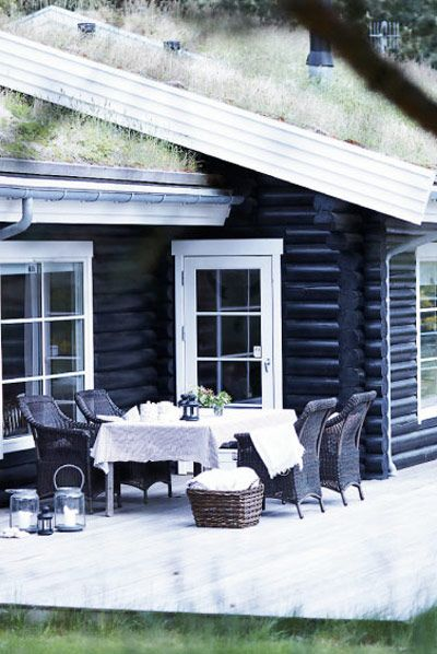 Scandinavian log house. Green roof Dark chairs good against dark walls