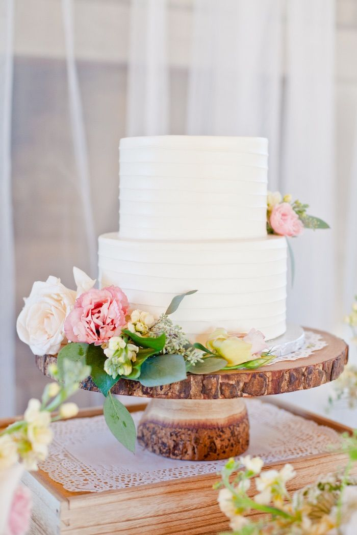 Cake from a Rustic Floral 1st Birthday Party via Kara's Party Ideas! KarasPartyIdeas.com (23)