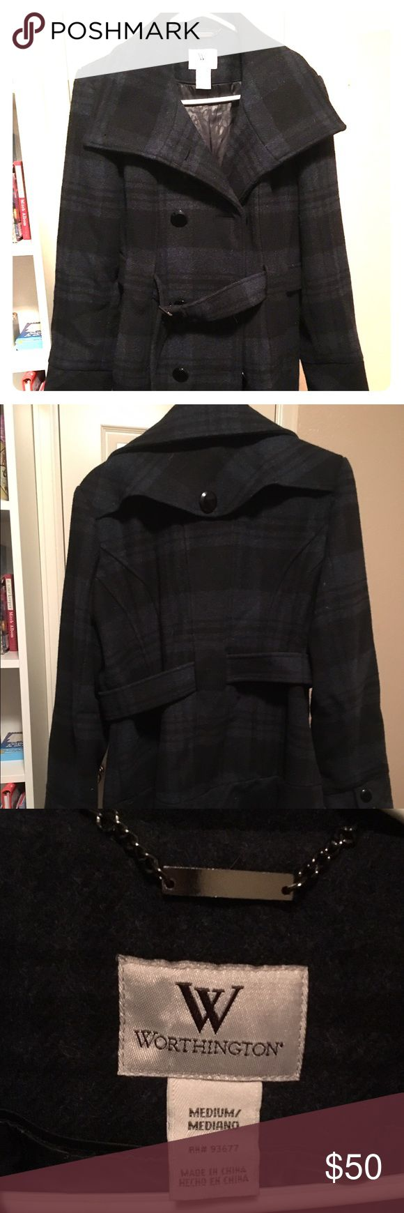 Woman's Dress Coat Worthington, medium Knee length, plaid, belted waist, button front, has spare button. Black and gray/blue plaid, really warm! Gently used half a winter, then I began to stay home at mommy, and don't wear it now. Worthington Jackets & Coats