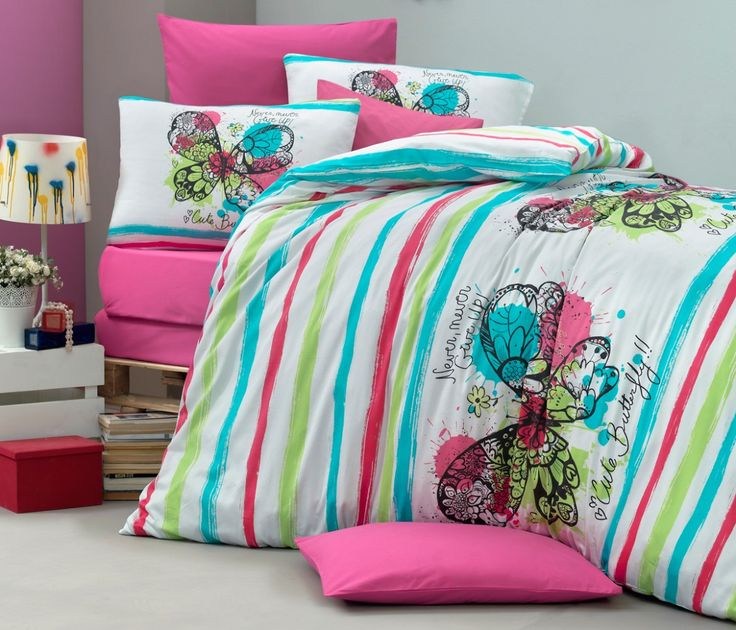 Lenjerie de pat din bumbac Valentini Bianco VKR10 Cute Butterfly Turquise
