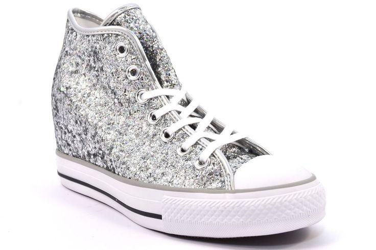 CONVERSE ALL STAR 552698C GLITTER ARGENTO Zeppa Interna Donna Sneakers Bianca