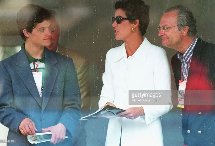 Princess Caroline of Monaco, a member of the Grimaldi family, speaks with King Carl XVI Gustaf of Sweden (R) and his son, Prince Carl Philip of Sweden at an event in 2002 in Monaco. Princess Caroline married Ernst August V, Prince of Hanover in 1999 and is also titled as Caroline, Princess of Hanover. She will be celebrating her 50th birthday on January 23rd.
