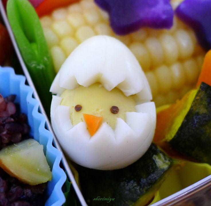 hard-boiled egg chick: Eggs Dishes, Quails Eggs, Eggs Chick, Bento Ideas, Easter Eggs, Devil Eggs, Baby Chicken, Kids Lunches Boxes, Hard Boiled Eggs