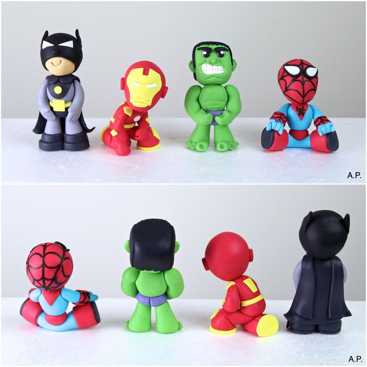 Fondant Superman Hulk Batman & Iron Man