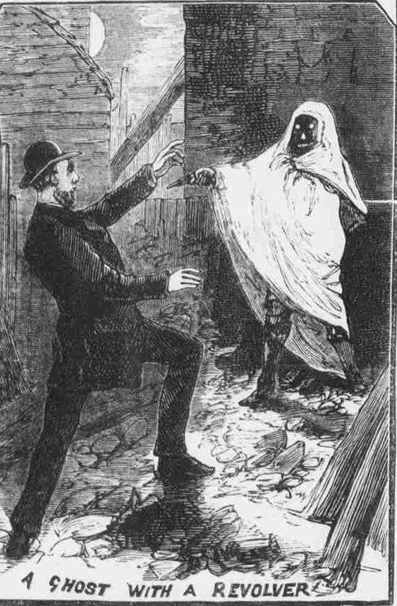 """""""Ghost with a Revolver,"""" Illustrated Police News, October 10, 1885."""