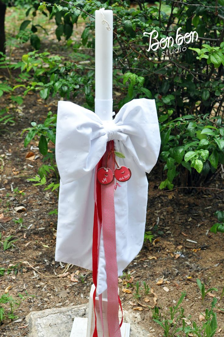 personalized baptism candle_cherry theme