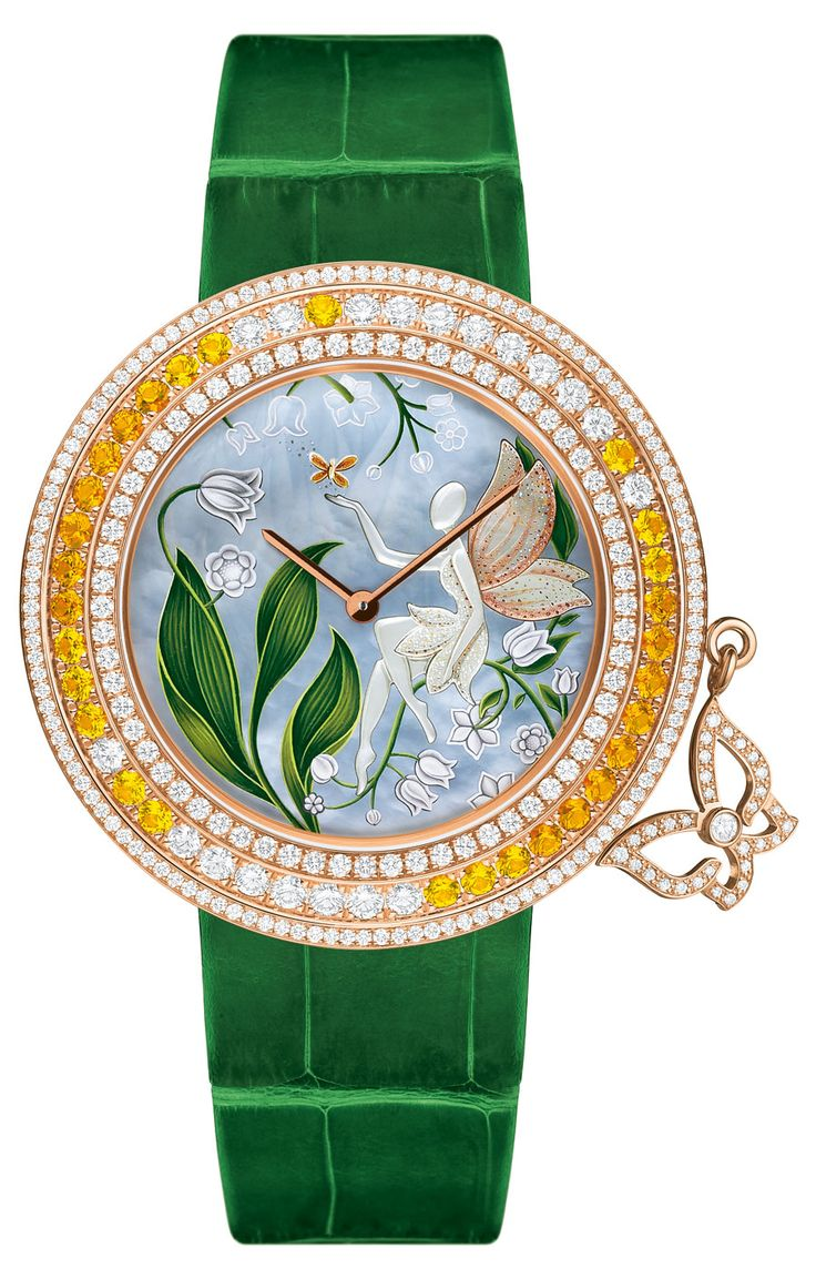 Van Cleef & Arpels Muguet watch - set in pink gold, bezel set with diamonds and yellow sapphires. Dial features miniature painting on mother of pearl and sculpted mother of pearl