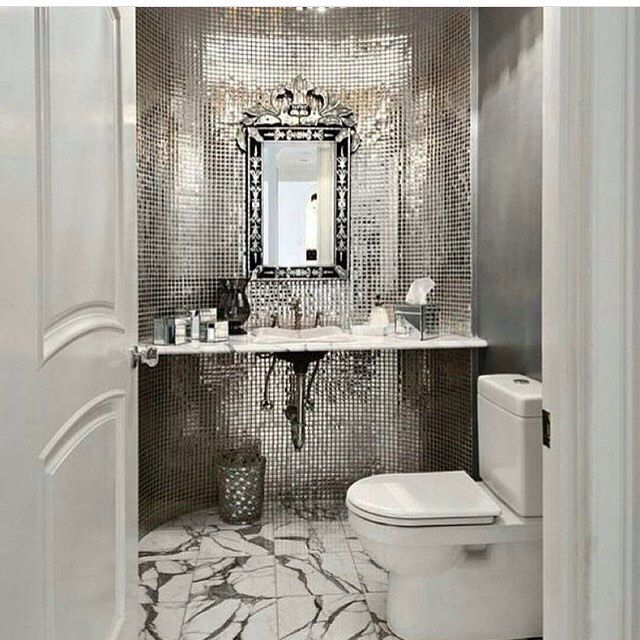 Accenting A Bathroom Or Powder Room Wall Is Always Great Way To Make Statement Find This Pin And More On AMAZING HOME INTERIOR DECORATING